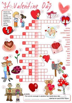 St Valentine's Day - crossword   ESL   Valentine activities ...