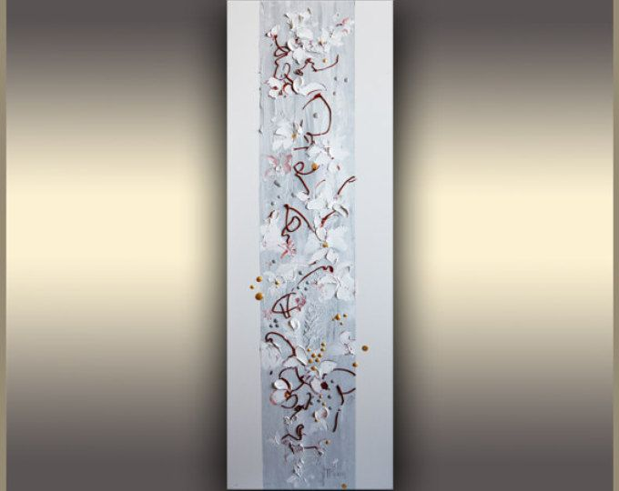Floral Art Painting Original Art, Abstract Painting Oil Painting Neutral Minimalist, Palette knife White Painting by Tatjana Ruzin, Mom Gift