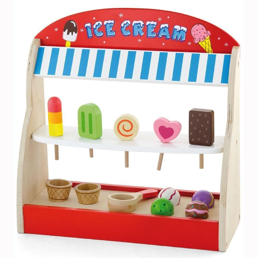 Childrens/Kids Wooden Ice Cream Lolly Shop Pretend Play-set Food ...