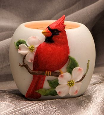 Ibis & Orchid Cardinal on Dogwood Votive