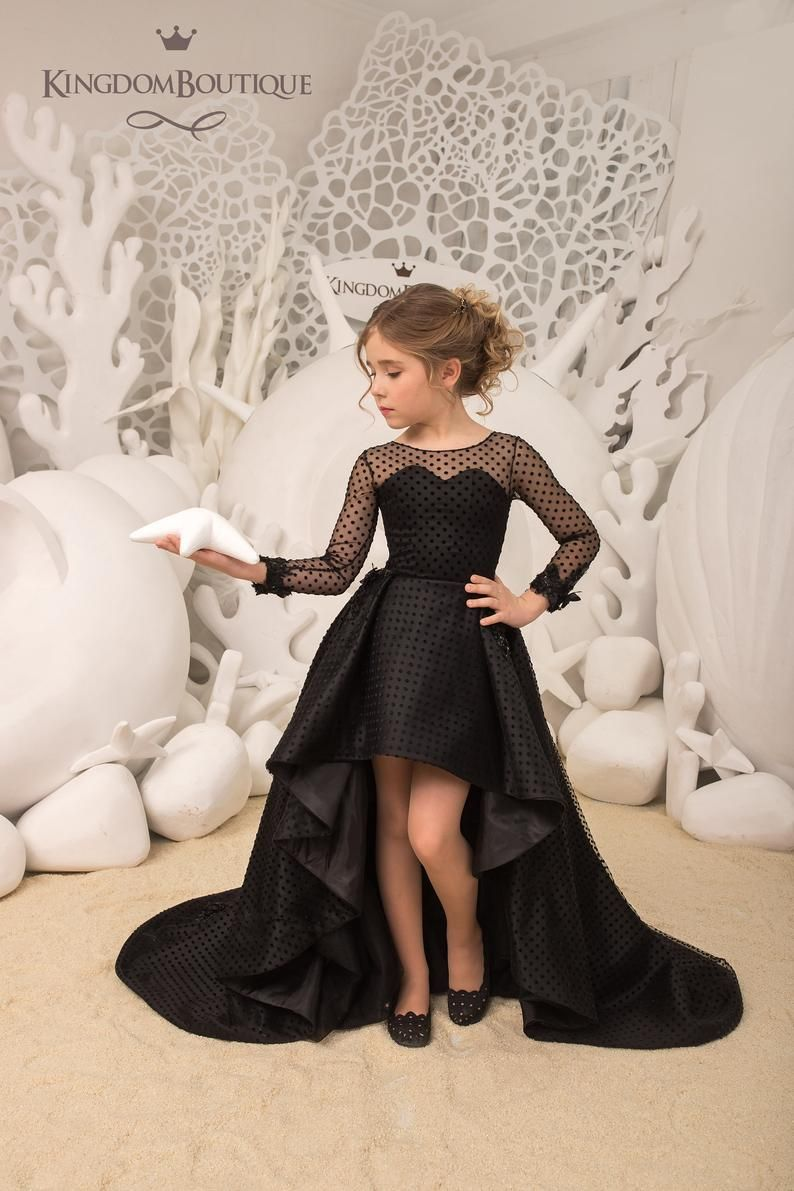 Black Satin Tulle Long Sleeves Formal Flower Girl Dress For Special Occasion Bridesmaid Party Wedding Pageant Bitrhday Photoshoot Christmas Girls Black Dress Black Flower Girl Dress Kids Gown [ 1191 x 794 Pixel ]