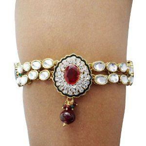 Goldtone Indian Traditional Upper Arm Bracelet Jewelry Cz Stone Armlet Jewellery Bridal & Wedding Party Jewelry