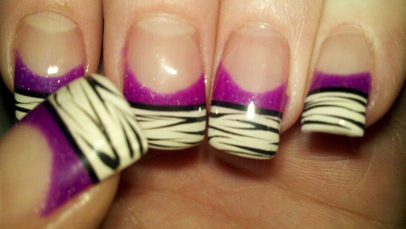purple zebra nails march 2012