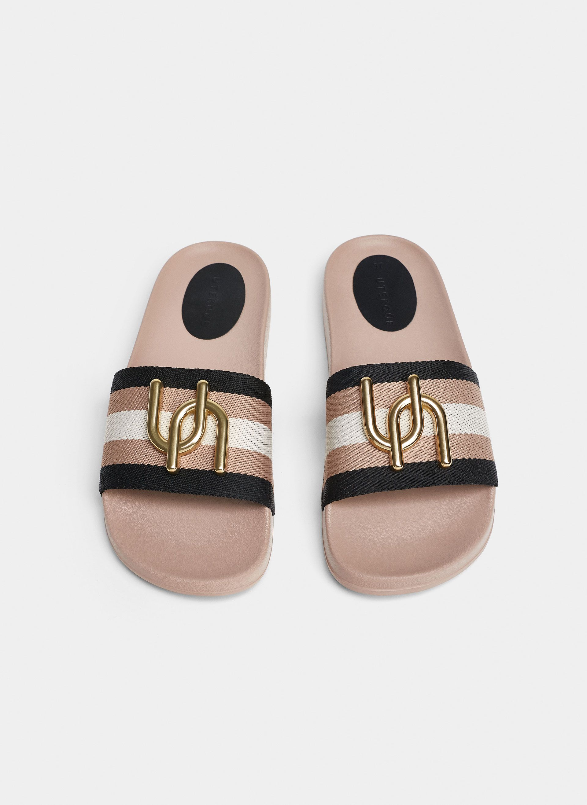 0943eb3f5 Uterqüe United Kingdom Product Page - Footwear - View all - Striped slides  with logo detail - 59