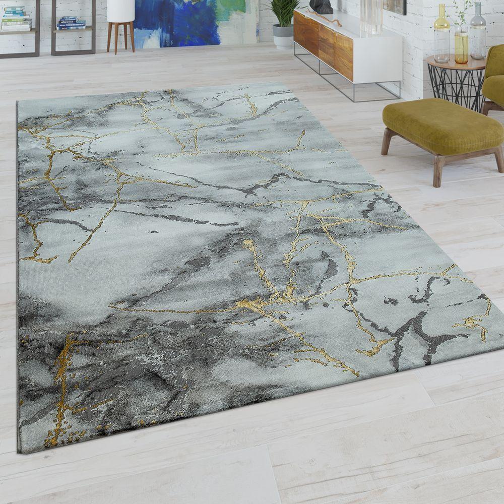 Kurzflor-Teppich Marmor Design Grau Gold (mit Bildern