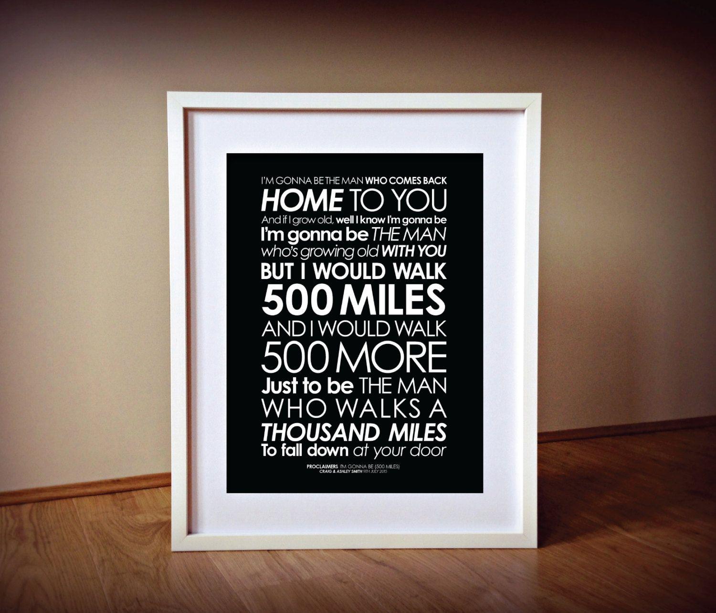 Proclaimers \'Im Gonna Be 500 Miles\' lyrics by TheDaisyHillShop ...