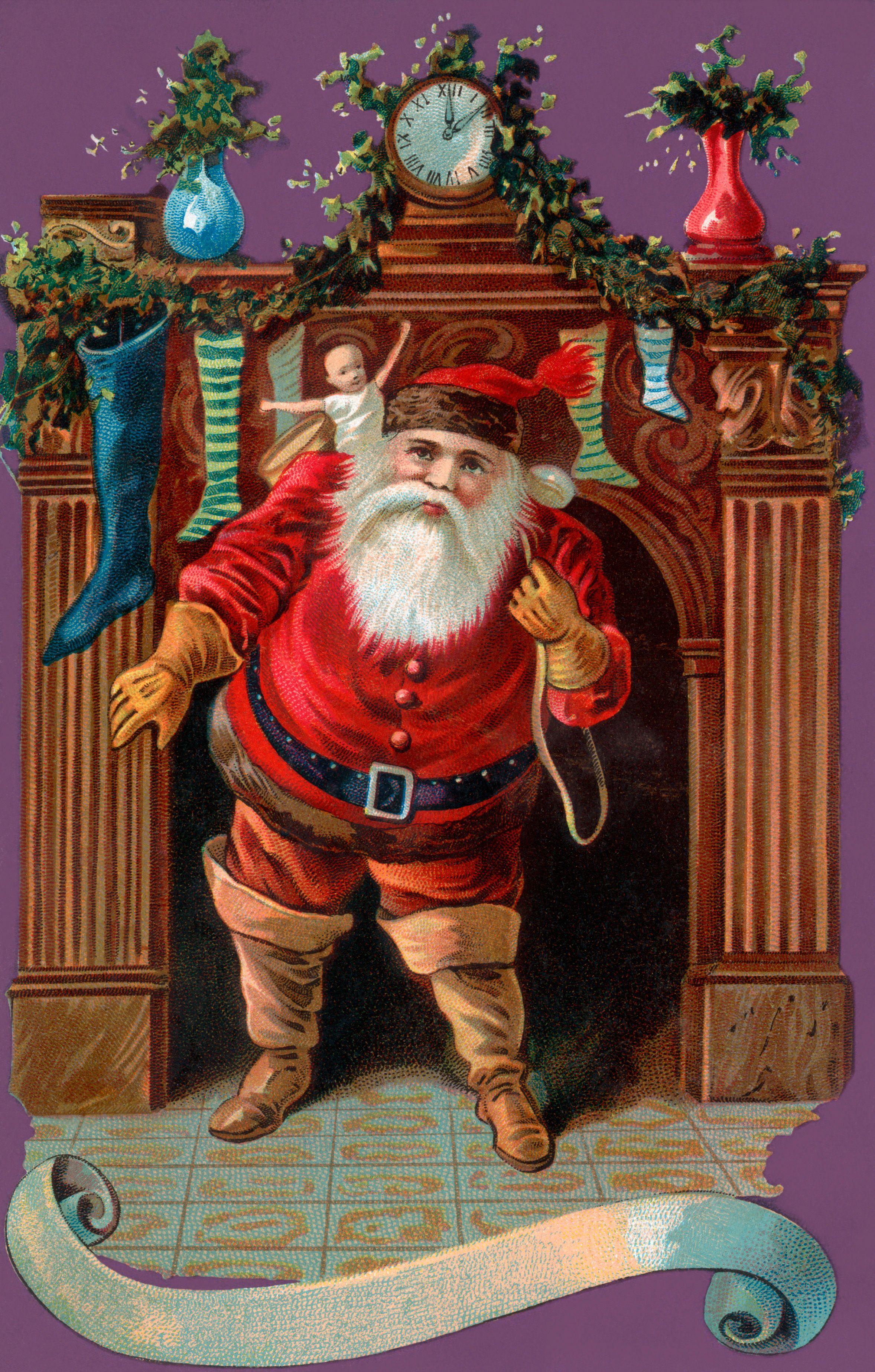 Achr0926 Santa Claus Lizzie Lawson Láminas Para Decoupage Tarjetas De Navidad Decoupage