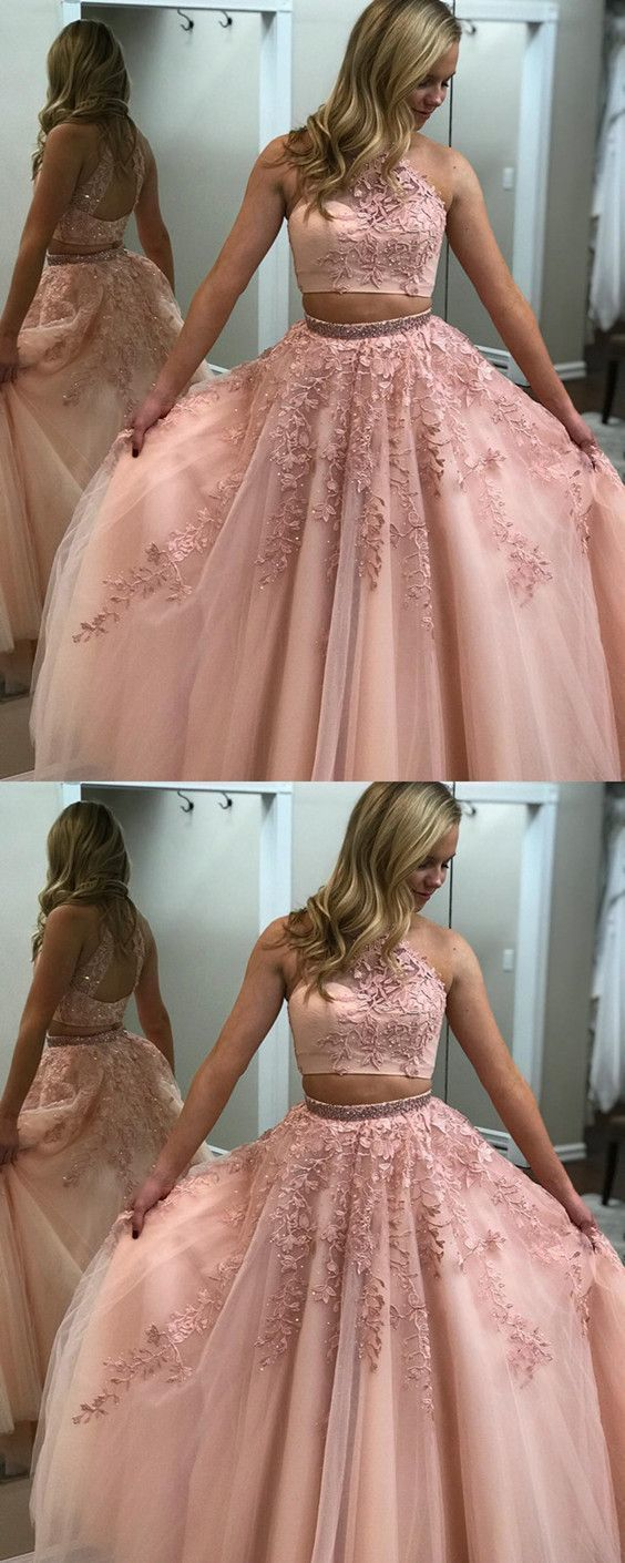 Blush Pink Prom Dresses Two Piece Ball Gowns Quinceanera Dresses Beaded High Neck With Lace Embroidery - Blush pink prom dresses, Pink prom dresses, Prom dresses lace, Prom dresses ball gown, Ball dresses, Quinceanera dresses - Blush Pink Prom Dresses Two Piece Ball Gowns Quinceanera Dresses Beaded High Neck With Lace Embroidery