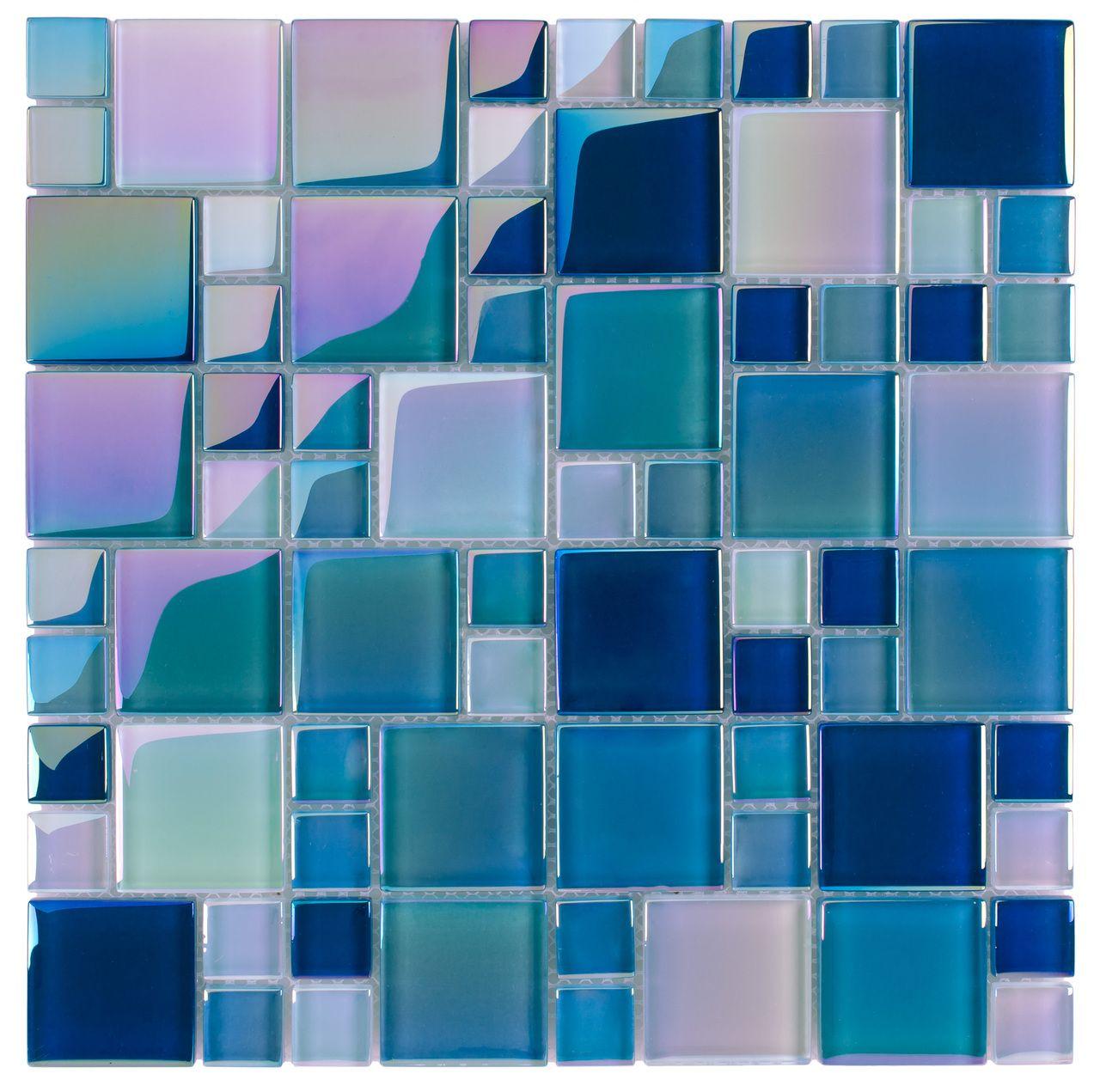 Glass Pool Tile Shimmer Aqua Blue Random | Glass pool, Kitchen ...