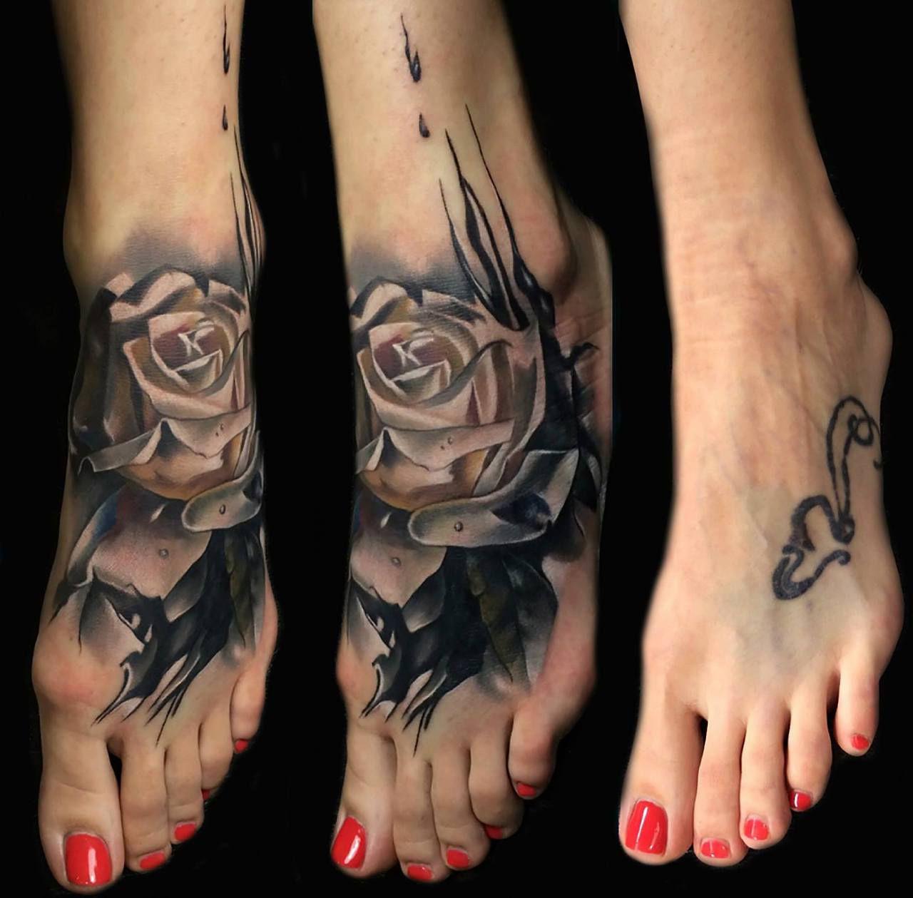 Foot Rose Cover Up tattoo design Tatuaje uv, Ocultar