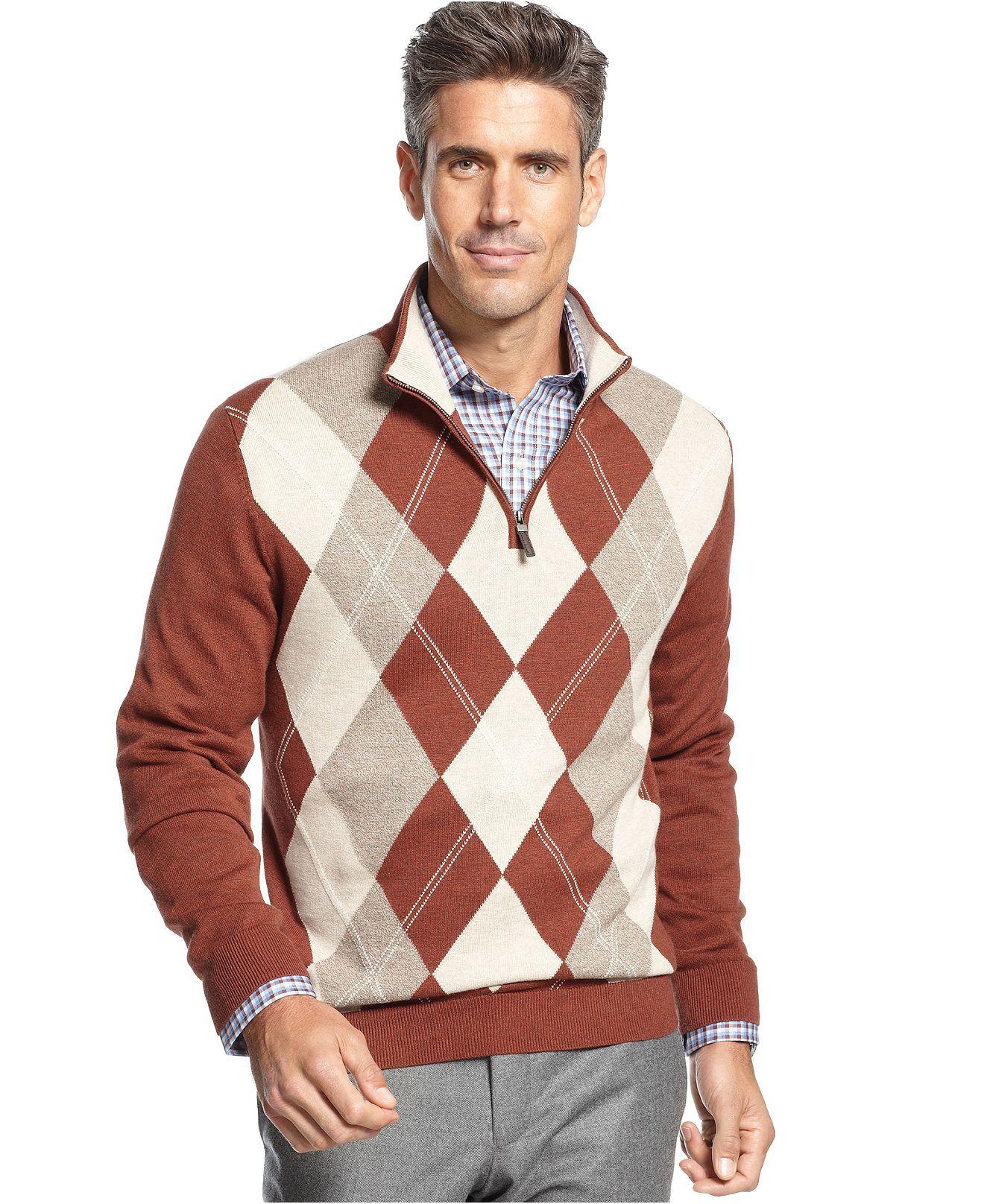Tasso Elba Sweater, Quarter-Zip Mock Neck Fine Gauge Argyle ...