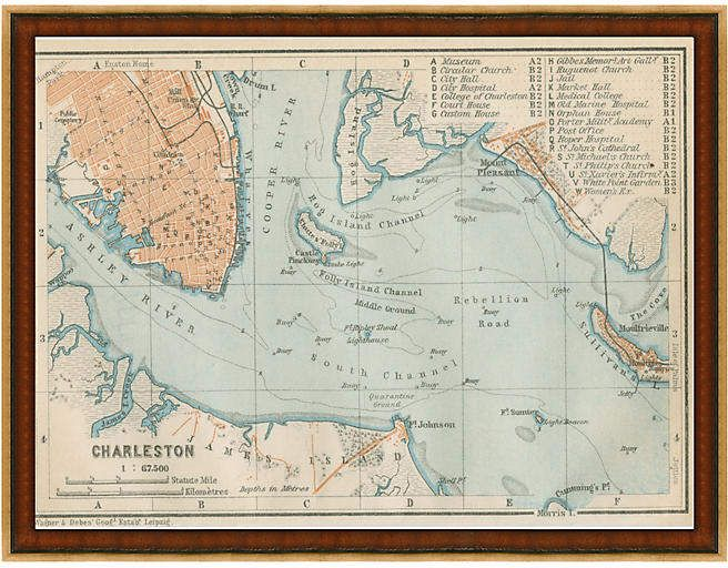 One Kings Lane Map Of Charleston In 2019 Products Charleston