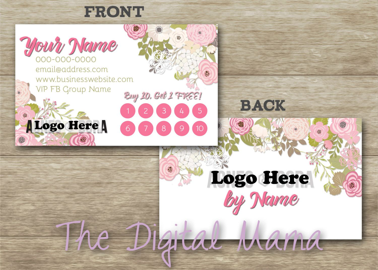 Agnes dora customer loyalty punch card business card design agnes dora customer loyalty punch card business card design agnes and dora custom business card agnes and dora digital download reheart Images