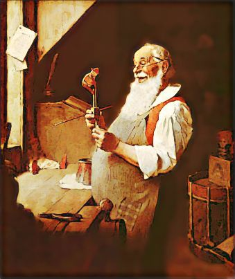 Santa's Workshop by Norman Rockwell c. 1922 - This painting was made for an advertisement that was published in the December 14, 1922 issue of the Clintonville Gazette.