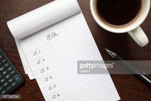 Stock Photo : Blank To Do List Notepad on Desk from Above