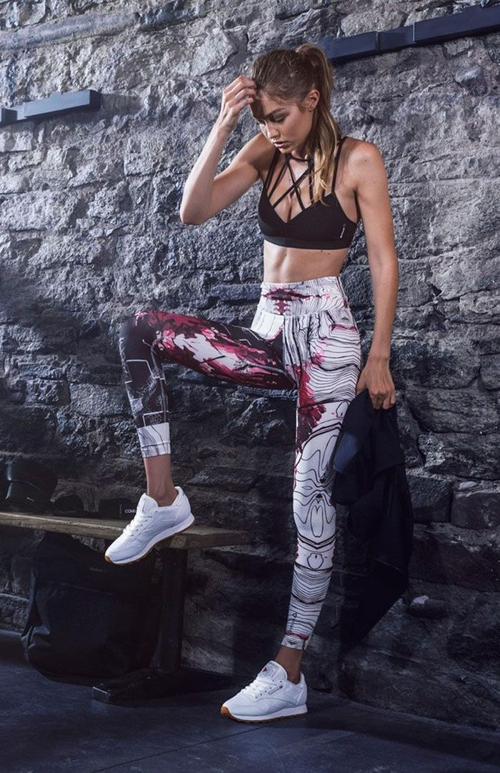 "95f43d760ed6a Gigi Hadid wearing Reebok ""Classic"" leather sneakers"