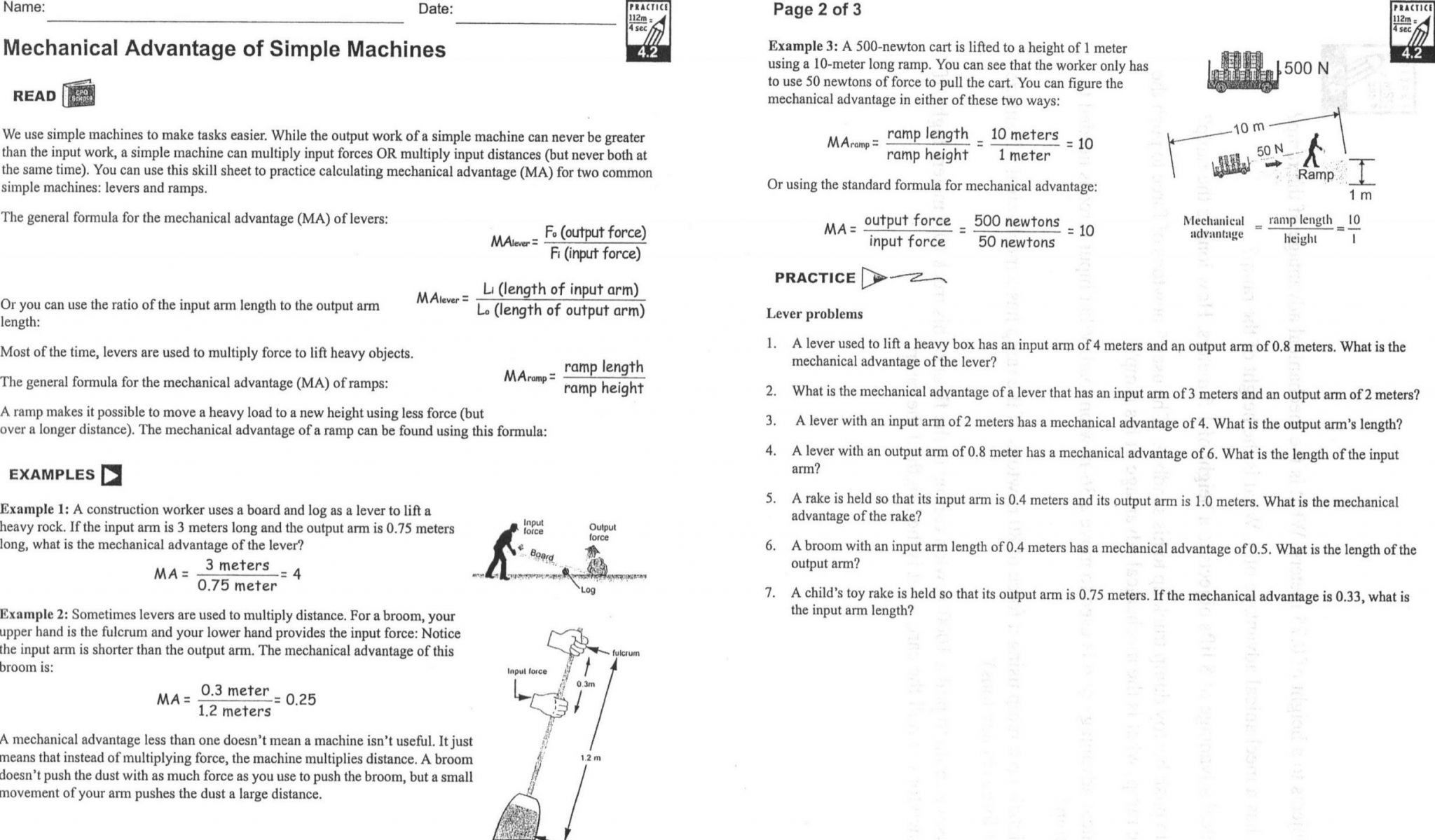 9 formal Simple Machines and Mechanical Advantage