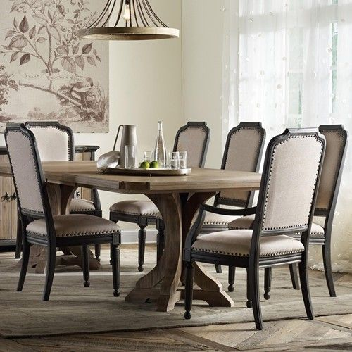 Furniture Corsica Rectangle Pedestal Dining Table Set With Upholstered Chairs Missouri
