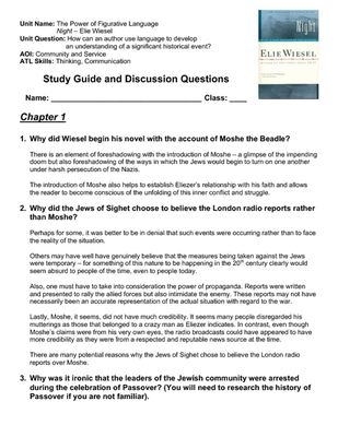 My English Class Essay Night  Elie Wiesel  Complete Printable Student Study Questions With  Answer Key From Robs Teaching Resources On Teachersnotebookcom Thesis Statement Examples Essays also High School Entrance Essay Examples Night  Elie Wiesel  Complete Printable Student Study Questions  Persuasive Essay Example High School