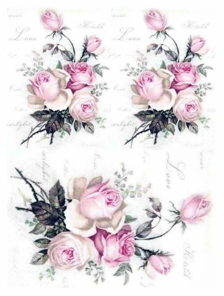 3  Servietten Belle Fleurs de Paris Shabby Rosen Napkin
