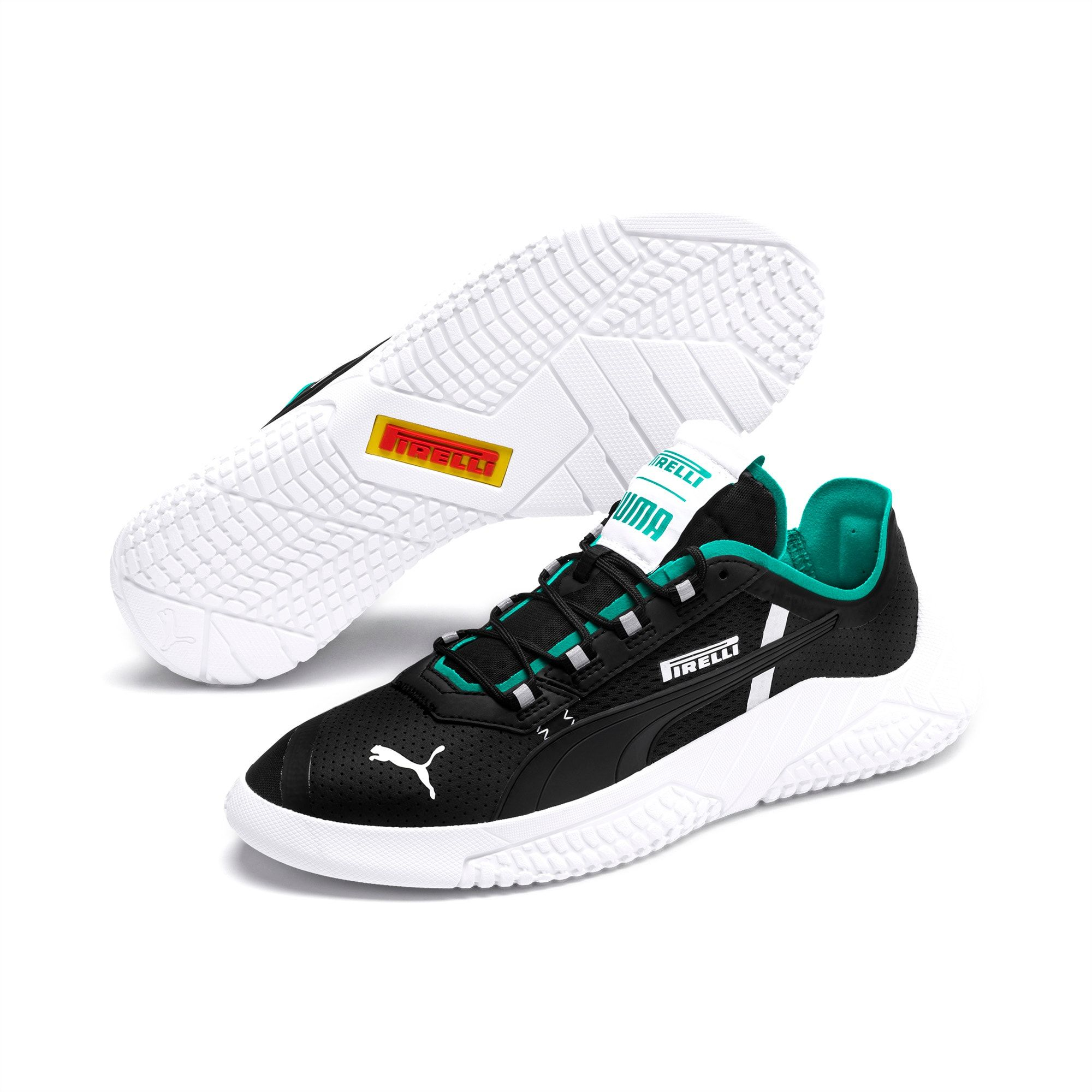 Photo of PUMA Pirelli Replicat-X Trainers,  Black/Spectra Green/White, size 10.5, Shoes