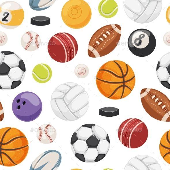 Sport Balls Seamless Pattern Vector Seamless Pattern Vector Seamless Patterns Pattern