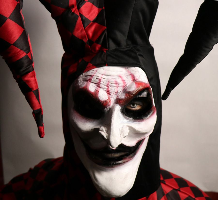 scary jester mask halloween jester costume prosthetic mask