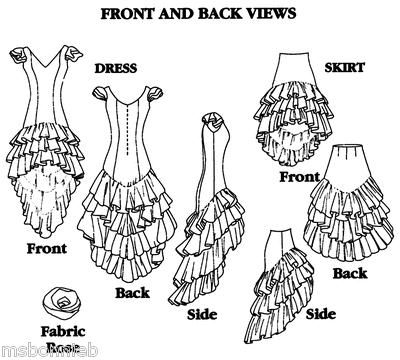 Bonnie\'s Pattern Shop - Folkwear 140 Flamenco Dress, Practice Skirt ...