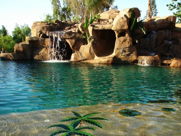 Amazing Rock Pool With Beach Entry Cave Waterfall And Slide Beach Entry Pool Pool Waterfall Dream Pools