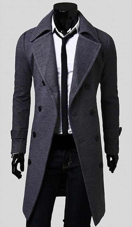 5a1085adde61 Double Breasted Overcoat with Side Pockets. Double Breasted Overcoat with  Side Pockets Winter Trench Coat, Trench Coat Men, Winter Coats