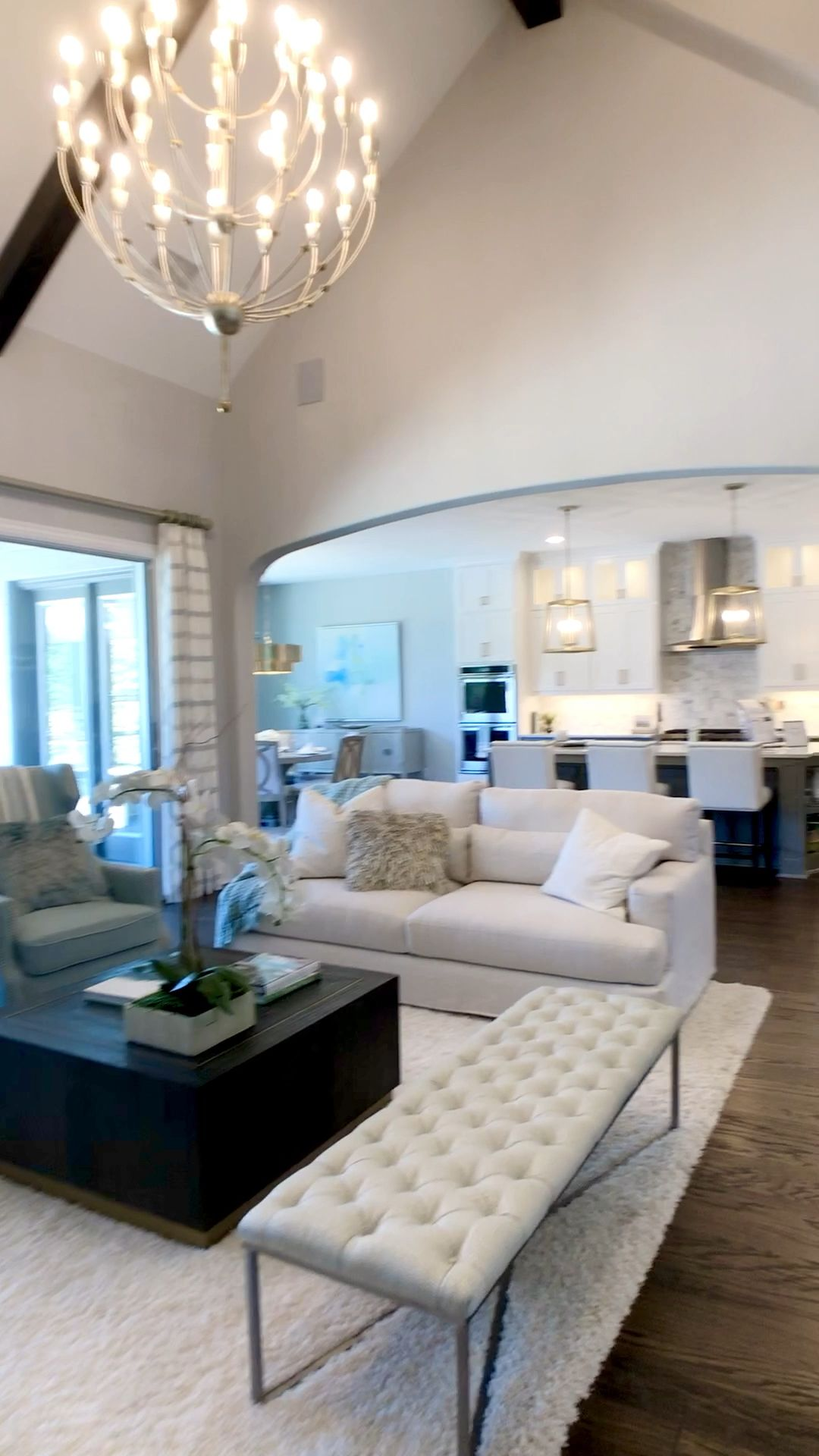 Photo of Living Room open concept with White Kitchen