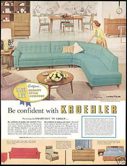 1950s Kroehler Furniture Advertisement   Want This Turquoise Sofa!