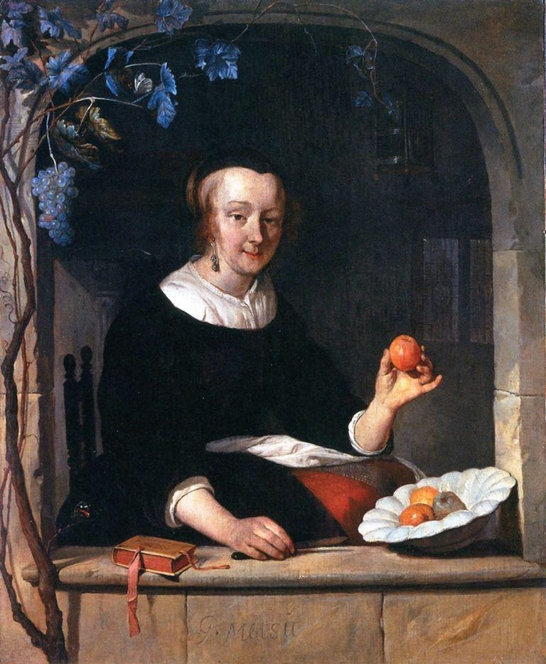Lady Seated in a Window Gabriël Metsu - circa 1661