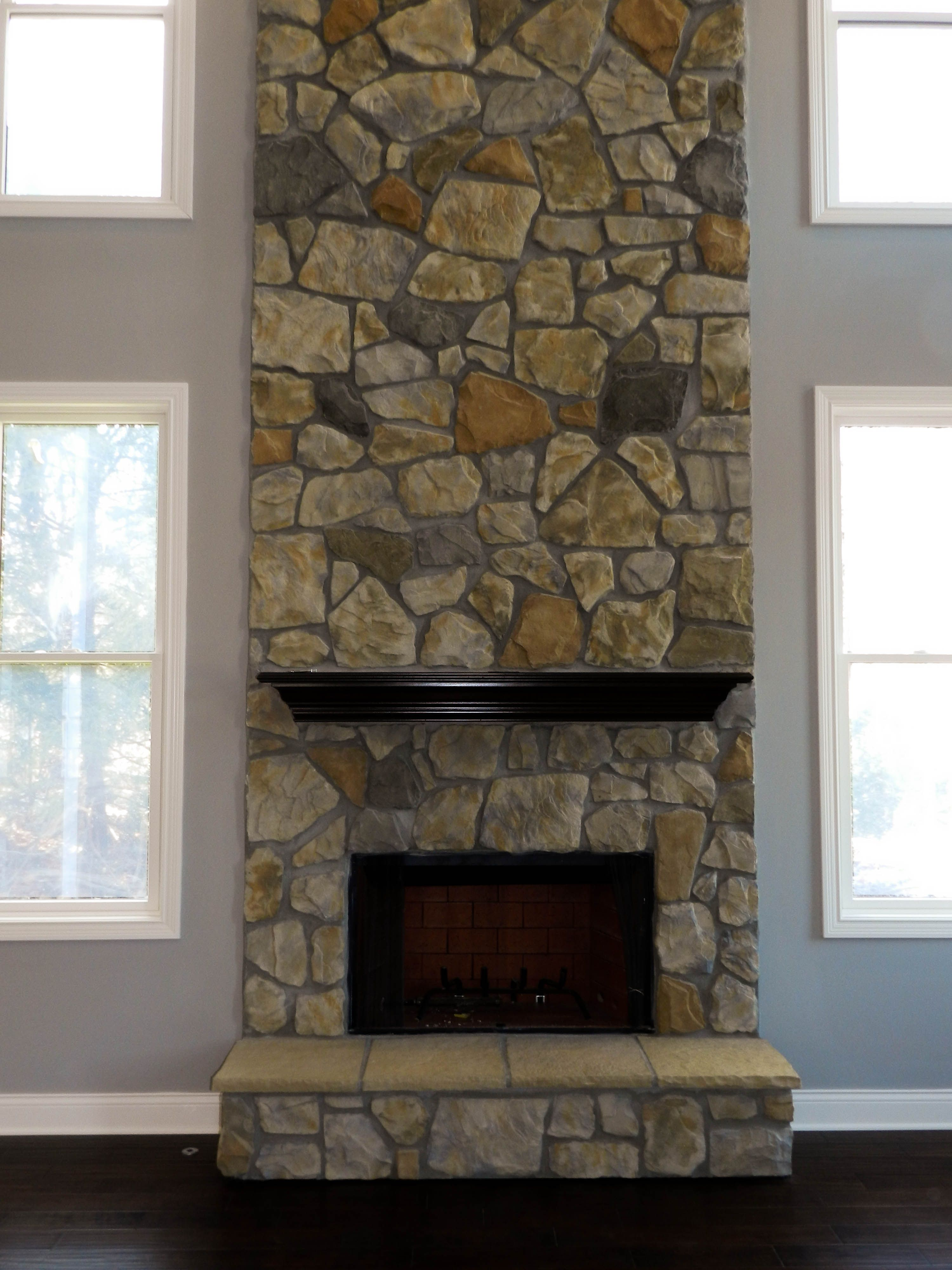 Gas Fireplace Natural Stone And Simple Mantle Fireplace