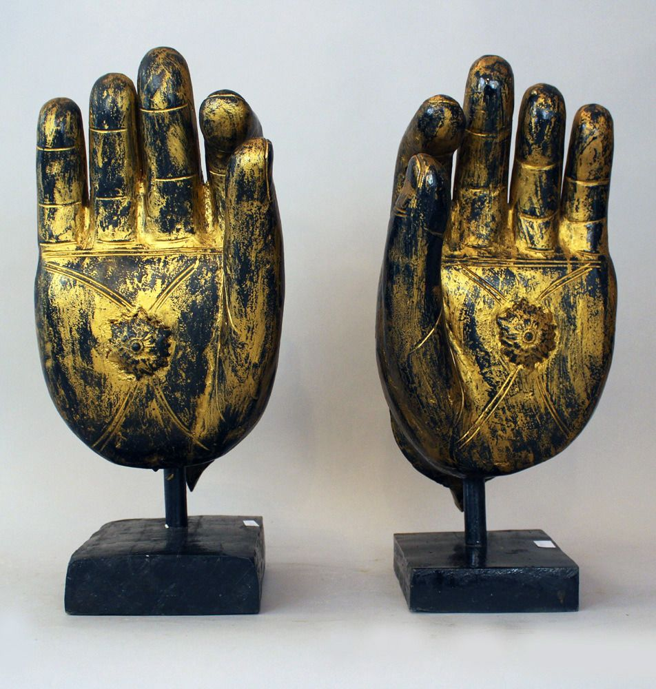 "Amare habeo "" pair of monumental buddha s hands wood"