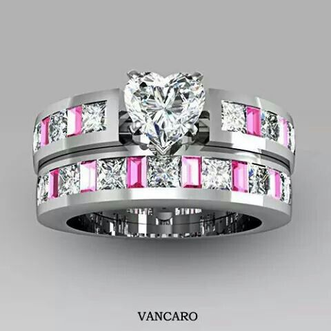 Love the pink! 4-prong Solitaire Heart Cubic Zirconia 925 Sterling Silver White Gold Plated Wedding Ring Set $129.00