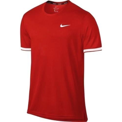 Nike Court Dry Team Crew Mens Tennis Shirt L Habanero Red