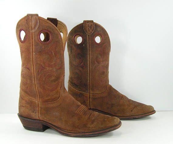 e5993a1e584 vintage buckaroo cowboy boots mens 9.5 D brown leather justin ...
