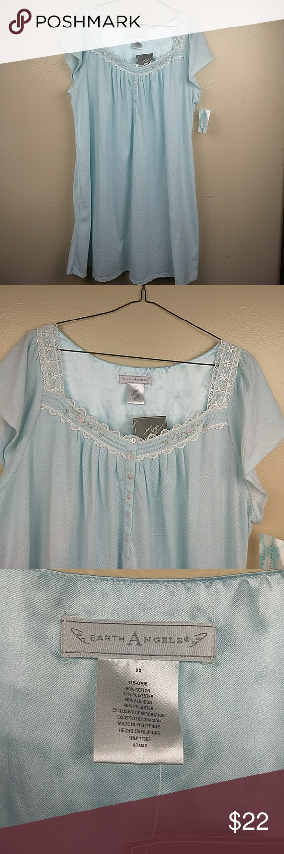 5e678267ba Earth Angel Aqua Nightgown Earth Angel Aqua Nightgown Size  2X Color   Black White