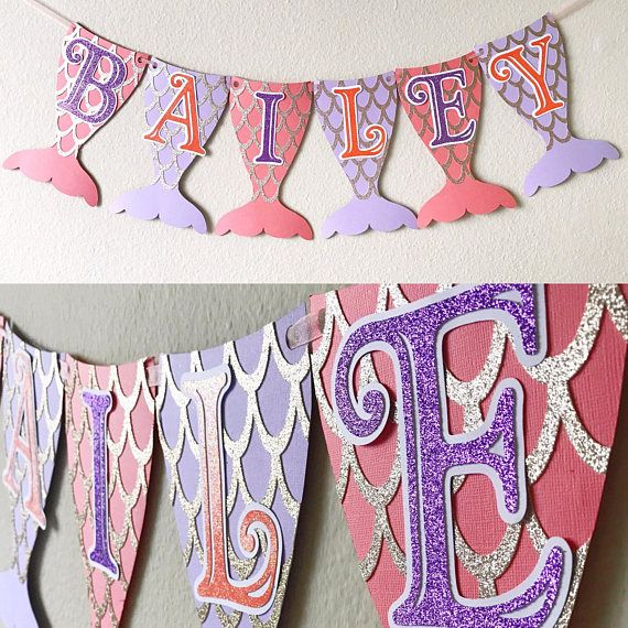 Mermaid Banner Mermaid Tail Banner Mermaid Party Mermaid