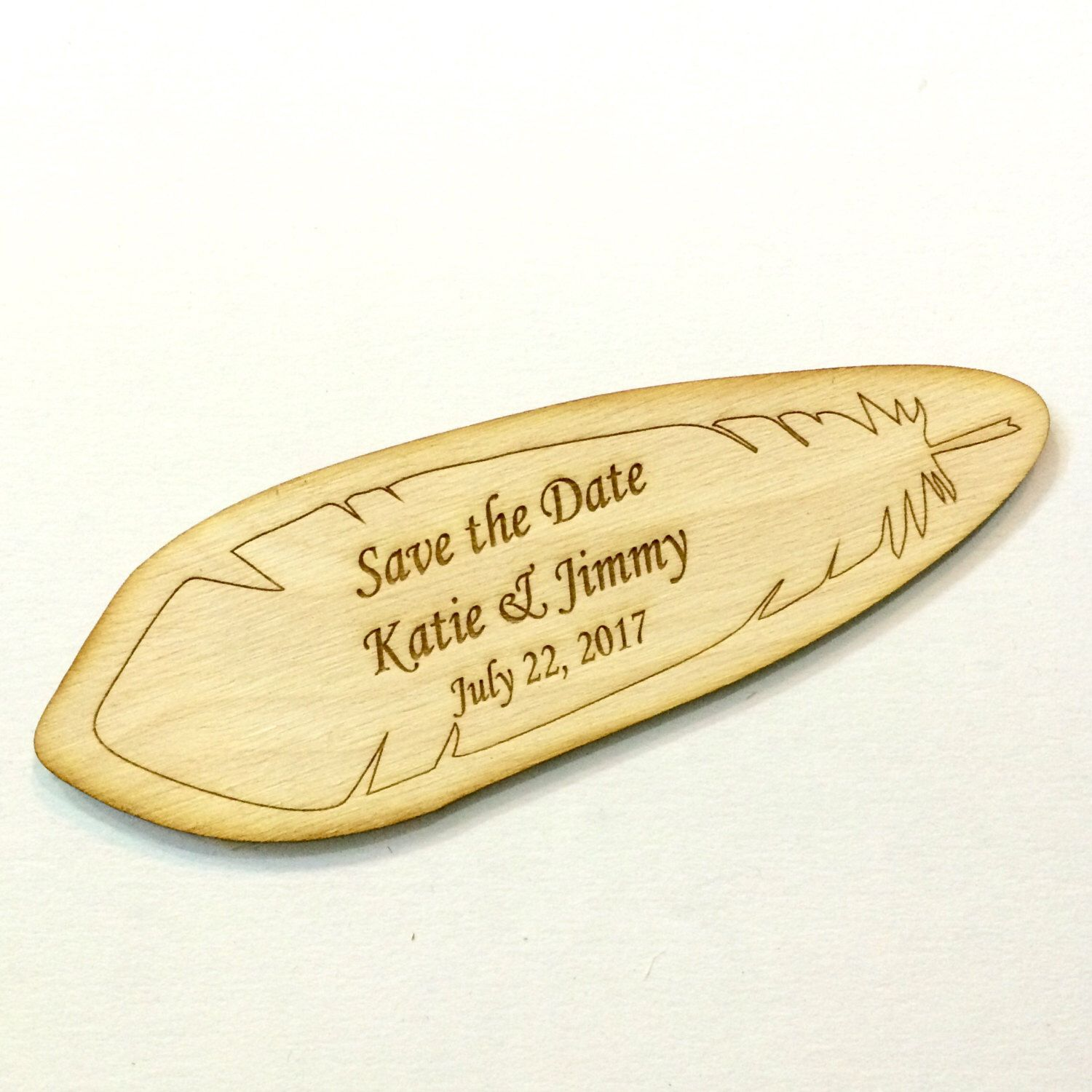 Rustic save the date wood wedding invitation wood feather by