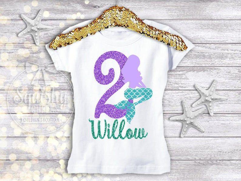 Mermaid Birthday Shirt, Mermaid 2nd Birthday, Mermaid