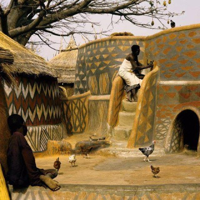 Ghanaian Nankani Woman Painting Her Home African Art Africa African House