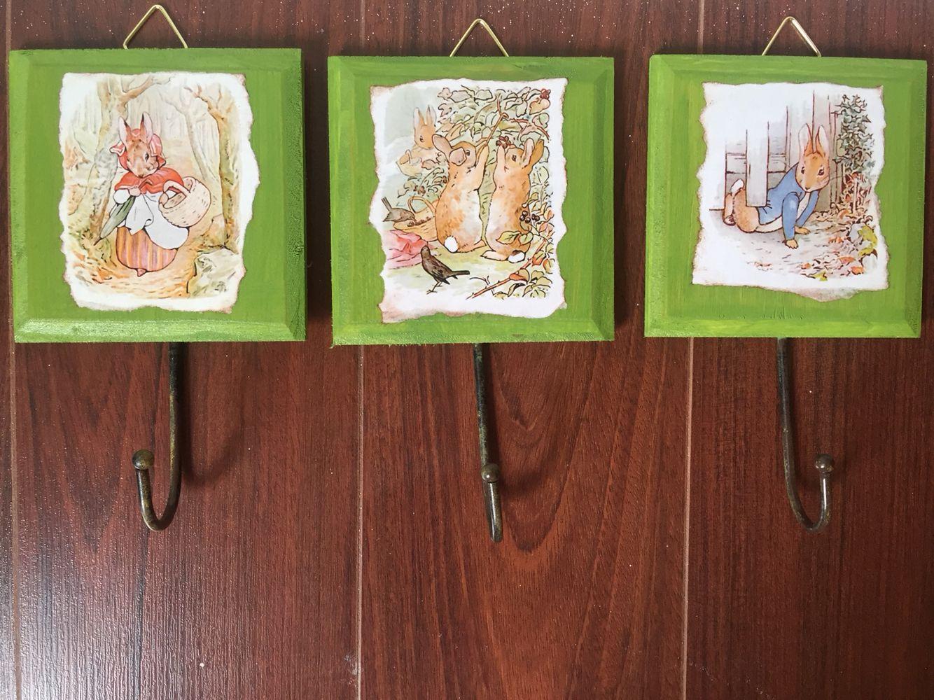 Wall hooks Peter rabbit themed nursery