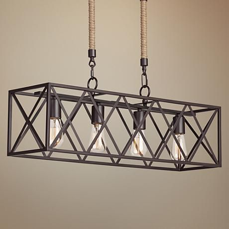 Add Four Vintage Style Edison Bulbs To This 4 Light Island Chandelier To Reinforce Its Timeless