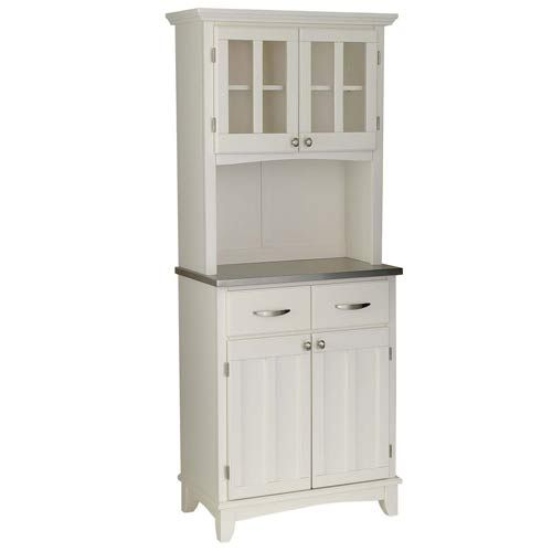 White Microwave Cabinet With Hutch | ... Styles Stainless Steel Wood Top Small  Buffet