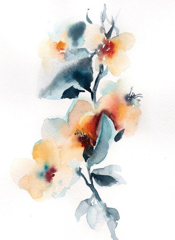 ORIGINAL Watercolor Painting Floral Watercolour Art by CanotStop