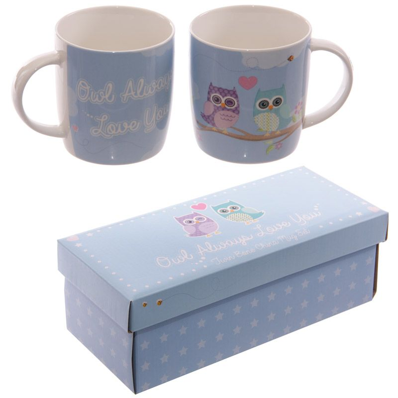 'Owl Always Love You' Pair of Boxed China Mugs'Owl Always Love You' pair of china mugs with sweet owl love image and matching gift box.  A cute gift for that special someone and a great stocking filler.
