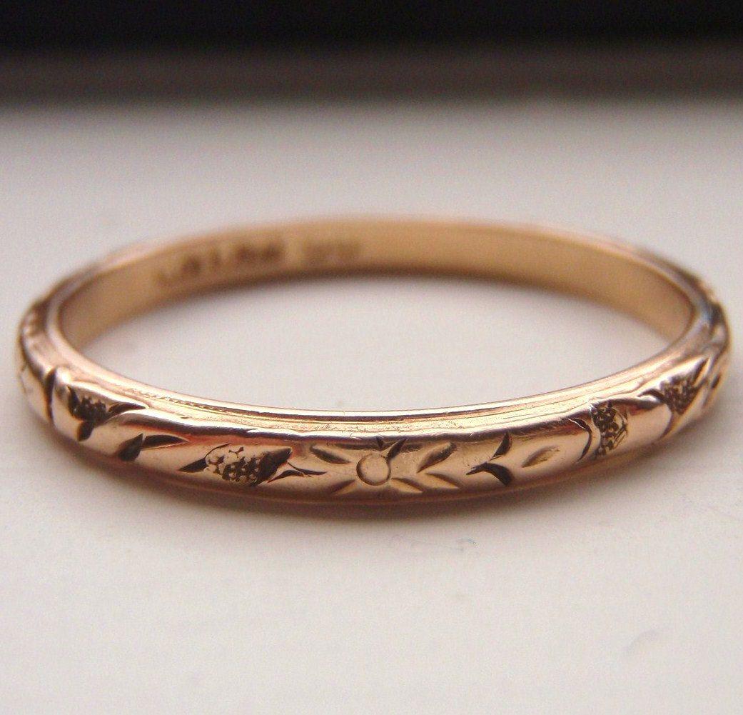 Vintage Solid 15K Rose Gold Wedding Band. Works