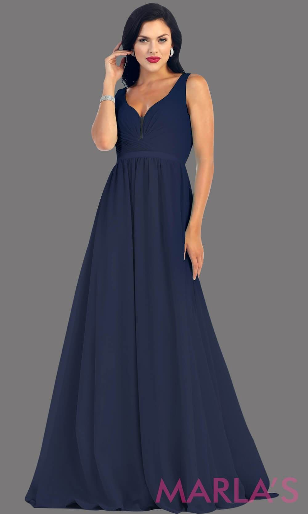 d64ef48fcbe2 Long Navy dress with wide straps and v neck dress. This simple evening gown  is perfect for a wedding guest dress, simple light prom dress, ...